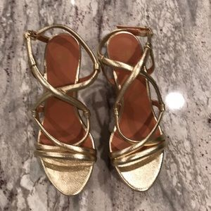 Gold strap wedge sandals cross cross cork heel 8